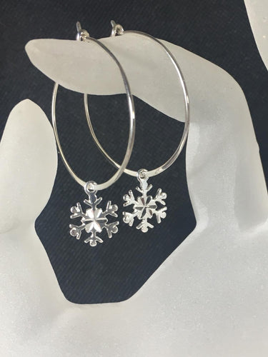 Snowflake Hoop Earrings, .925 Sterling Silver, Diamond Cut Snowflake Charms, Snowflakes and Icicles - MiShelli