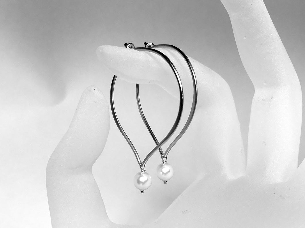 Pearl Hoop Earrings, White Pearl Lotus Petal Hoop Ear Wires, Swarovski Crystal Large Hoops, Everyday Hoops - MiShelli