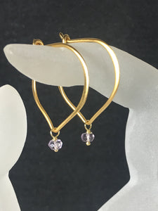 Amethyst Earrings Gold Vermeil Ear Wires, Light Amethyst Birthstone - MiShelli