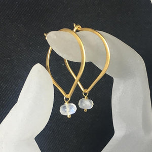 "Moonstone Earrings, Gold Vermeil Lotus Petal 1"" Hoop Ear Wires, Brushed Finish, Gemstone Earrings, Gifts for Her - MiShelli"