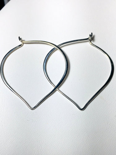Large Sterling Silver Lotus Petal Hoop Ear Wires, .925 Silver Hoop Earrings, Heart Ear Wires, 41mm - MiShelli
