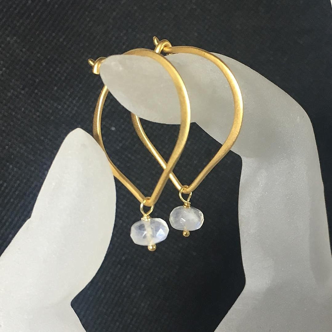 Moonstone Earrings, Gold Vermeil Lotus Petal 1