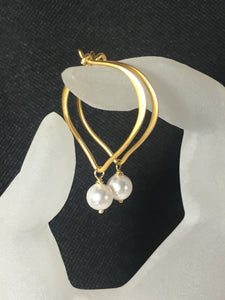 "Pearl Earrings, Gold Vermeil Lotus Hoop Ear Wires, Length 1"" - MiShelli"