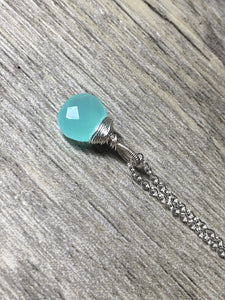 Aqua Green Quartz Solitaire Pendant, .925 Sterling Silver, Briolette Gemstone Necklace - MiShelli