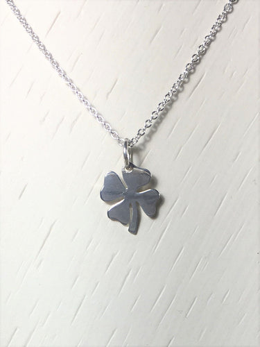 Shamrock Necklace, Silver Clover Charm Necklace, Four Leaf Clover, .925 Sterling Silver Pendant, Celtic Necklace, Dainty, Everyday Necklace - MiShelli