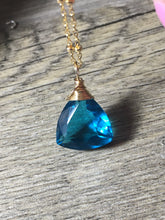 "Load image into Gallery viewer, Blue Quartz Solitaire Wire Wrapped Gemstone Necklace, Trillion Cut, Gold Filled Pendant, Long Layering Length 20"" - MiShelli"