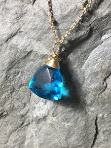 "Blue Quartz Solitaire Wire Wrapped Gemstone Necklace, Trillion Cut, Gold Filled Pendant, Long Layering Length 20"" - MiShelli"