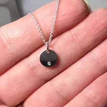 Load image into Gallery viewer, Diamond Disc Necklace, Sterling Silver Layering Pendant, April Birthstone