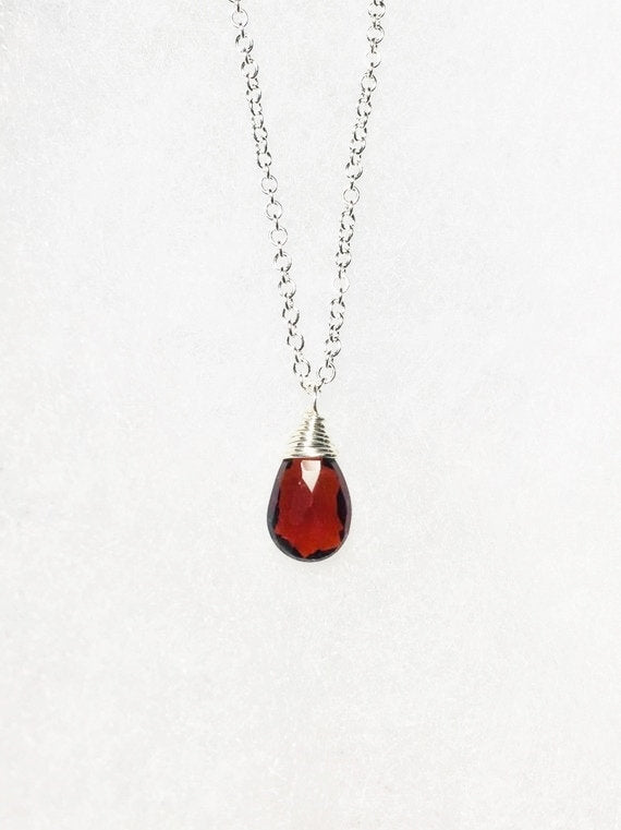 Garnet Solitaire Necklace, January Birthstone - MiShelli