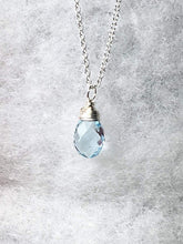 Load image into Gallery viewer, Topaz Necklace, Sterling Silver, Sky Blue Topaz Gemstone Pendant, Wire Wrapped Blue Topaz Briolette, Gifts for Her, MiShelli, Topaz Necklace - MiShelli