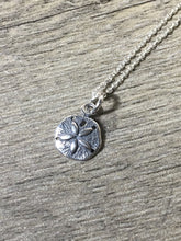 Load image into Gallery viewer, Dainty Sand Dollar Charm Layering Necklace, .925 Sterling Silver Oxidized Pendant, Beach Jewelry - MiShelli