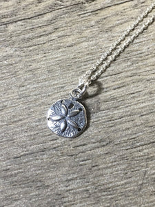 Dainty Sand Dollar Charm Layering Necklace, .925 Sterling Silver Oxidized Pendant, Beach Jewelry - MiShelli
