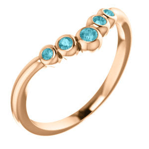 "Blue Zircon 14K Gold, Graduated Contour Band, 14K, 18K Rose, Yellow, White Gold, Birthstone Ring, Anniversary Band, ""V"" Ring - MiShelli"