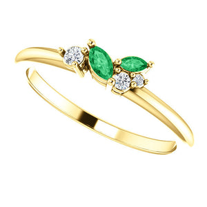 Emerald Marquise Diamond Dainty Cluster Ring, 14K gold Stackable Birthstone Ring, Non Traditional Wedding, Rose Gold Emerald - MiShelli
