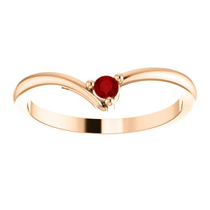 "Dainty Ruby ""V"" Ring, 14K Gold, Diamond Contour Band, 18K Gold Stacking Ring, Ruby Birthstone MiShelli - MiShelli"