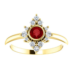 Ruby Diamond Cluster Ring, 14K Gold, Diamond Ruby, Birthstone, Modern Engagement - MiShelli