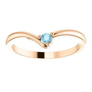 "Dainty Aquamarine ""V"" Ring, 14K Gold, Diamond Contour Band, 18K Gold Stacking Ring, March Birthstone, MiShelli - MiShelli"