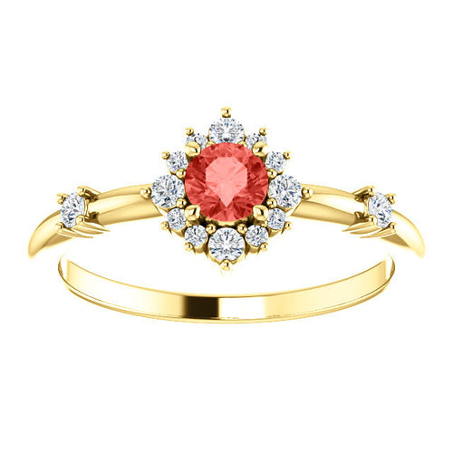 Padparadscha Chatham Sapphire Diamond Halo Ring, 14k Gold, Non Traditional Wedding - MiShelli