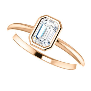 "Moissanite Emerald Cut ""Forever One"" 14K Gold Ring, Yellow, White, Rose Gold, Non Traditional Engagement Ring - MiShelli"