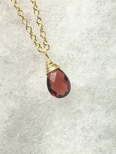 Load image into Gallery viewer, Red Garnet Necklace, January Birthstone, Solitaire Pendant, Gold Fill, Sterling - MiShelli