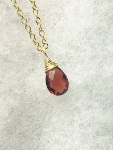 Red Garnet Necklace, January Birthstone, Solitaire Pendant, Gold Fill, Sterling - MiShelli