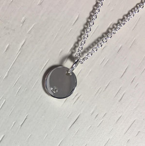 Diamond Disc Necklace, Sterling Silver Layering Pendant, April Birthstone - MiShelli