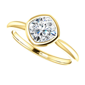 "Moissanite Cushion 14k Gold, Princess Cut ""Forever One"", Engagement Ring, Made to Order, yellow, white, and rose gold - MiShelli"