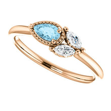 Load image into Gallery viewer, Aquamarine Sapphire 14K Gold Ring, Pear Aquamarine, Marquise Sapphire - MiShelli