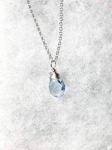 Topaz Necklace, Sterling Silver, Sky Blue Topaz Gemstone Pendant, Wire Wrapped Blue Topaz Briolette, Gifts for Her, MiShelli, Topaz Necklace - MiShelli