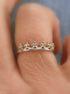 Queen's Crown Stacking Ring, .925 Sterling Silver - MiShelli