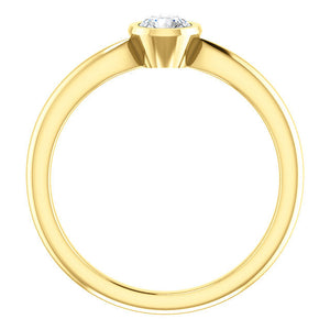 Rose Cut Moissanite 14K Gold Low Profile Bezel Ring, Forever One, Solitaire, Classic, Diamond Alternative - MiShelli