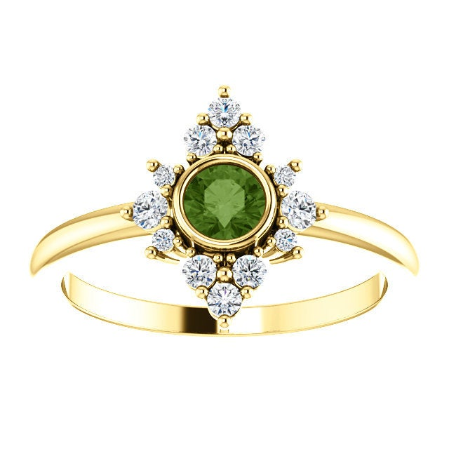 Green Tourmaline Diamond Ring, 14K Gold Cluster Bezel Gemstone Ring, Alternative Engagement, Statement Ring - MiShelli