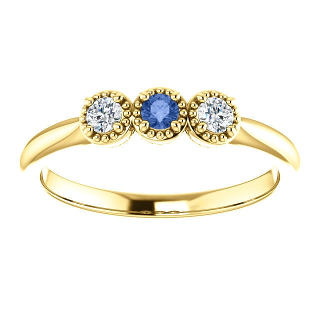 Ceylon Blue Sapphire Forever One Moissanite Ring, 14K Gold, Low Profile, 3 Stone Ring - MiShelli