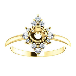 Princess Diamond Cluster Halo Ring 14K Gold - Design Your Own - Choose Your Stone - MiShelli
