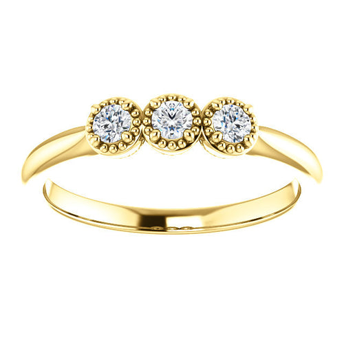 Diamond Anniversary Band, 14k Gold Low Profile Petite Gemstone Ring, 3 Stone Band, Diamond Ring