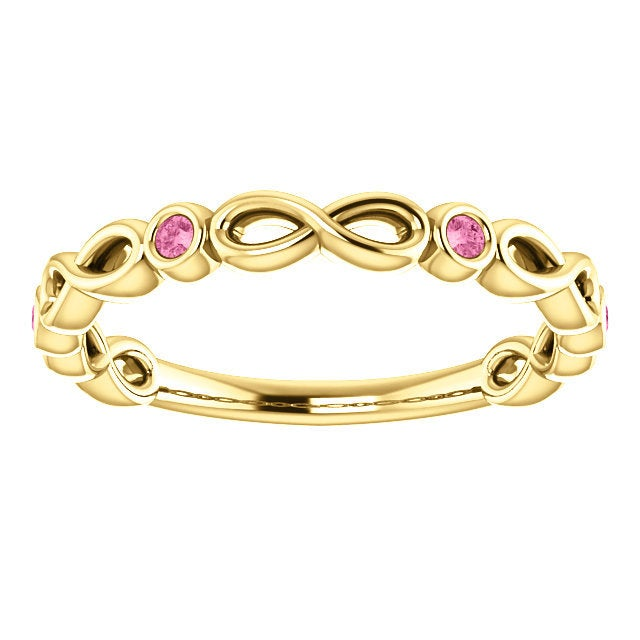 Rose Gold Sapphire Infinity Band, 14K Gold Pink Sapphire Eternity Band, 14K, 18K, Anniversary Band, Stackable Ring, Wedding Ring - MiShelli