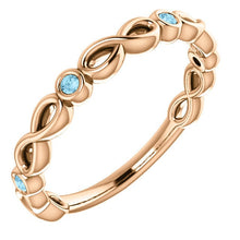 Load image into Gallery viewer, Rose Gold Aquamarine Infinity Birthstone Band, 14K Gold Aquamarine Eternity Band, 14K, 18K, Anniversary Band, Stackable Ring, Wedding Ring - MiShelli