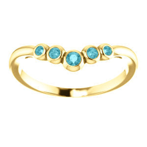 Blue Zircon 14K Gold, Graduated Contour Band, 14K, 18K Rose, Yellow, White Gold, Birthstone Ring, Anniversary Band,