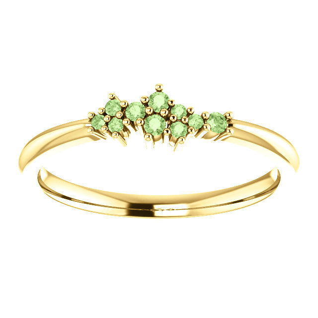 Green Apple Diamond Cluster Ring, Diamond Stacking Ring, 14k Gold, Low Profile, Non Traditional - MiShelli