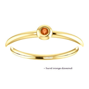 Tiny Colored Diamond 18K Gold Stacking Ring - MiShelli