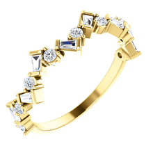 Load image into Gallery viewer, Diamond Baguette Anniversary Band 14K Gold Ring, Whimsical Birthstone Ring, Baguette Diamonds, 14K/18K Gold - MiShelli