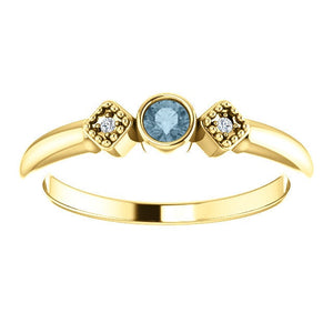 Teal Blue Diamond Ring, Size 7, 14K Gold Stacking Ring, Anniversary Band, Non Traditional Wedding - MiShelli