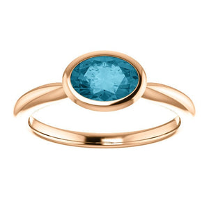 Oval London Blue Topaz 14K Rose Gold Ring, Oval Bezel Ring, Birthstone Ring, MiShelli, Low Profile - MiShelli