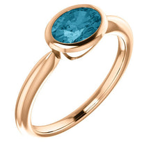 Load image into Gallery viewer, Oval London Blue Topaz 14K Rose Gold Ring, Oval Bezel Ring, Birthstone Ring, MiShelli, Low Profile - MiShelli