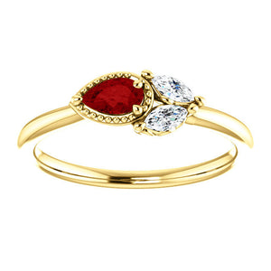 Ruby Sapphire 14K Gold Ring, Ruby Pear, White Sapphire Marquise Cluster Ring, Non Traditional - MiShelli