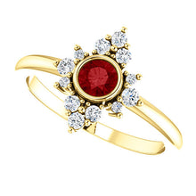Load image into Gallery viewer, Ruby Diamond Cluster Ring, 14K Gold, Diamond Ruby, Birthstone, Modern Engagement - MiShelli