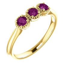 Load image into Gallery viewer, Unique Purple Diamond Ring, 14K Gold 3 Stone Stacking Band, Non Traditional Wedding - MiShelli