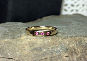Pink Sapphire Band, Size 7, Stacking Ring, 14k Yellow Gold Wedding Band, Birthstone Ring - MiShelli