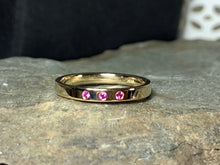 Load image into Gallery viewer, Pink Sapphire Band, Size 7, Stacking Ring, 14k Yellow Gold Wedding Band, Birthstone Ring - MiShelli
