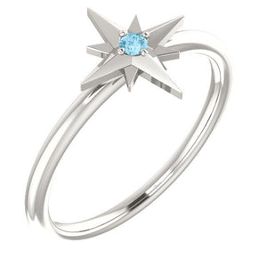 Your Birthstone Ring, Aquamarine Star Ring, Petite Sterling Silver Star, Select Your Birthstone, Gift for Her - MiShelli